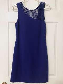 Zara Royal Blue Dress with lace and low back