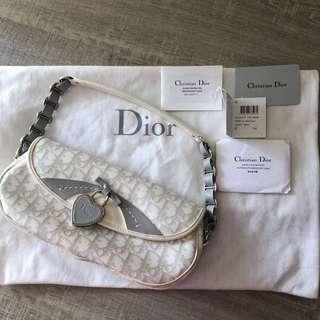 100% Auth Christian Dior grey white signature Boston hand bag