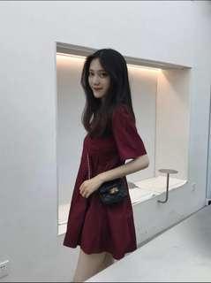 韩版超显腿长的A字短款娃娃短袖连衣裙
