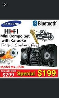 SAMSUNG MIni CD/Karaoke 2:1 Channel Surround Sound HI-Fi Set with 230Watts RMS Power,Bluetooth +  double USB + Football Stadium Effect.  Usual Price: $ 299. Special Price: $199 ( Brand New In Box &  Sealed)