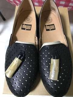 Fitflop Black Latticed Leather Loafers