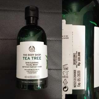 The body shop tea tree skin clearing facial wash sabun wajah muka 400 ml