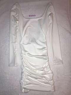 Fashion Nova Dress Karis Ruched (White/Ivory)