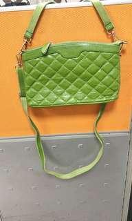 綠色肩斜2用包