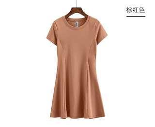 圆领修腰中长款赫本短袖纯棉T恤连衣裙