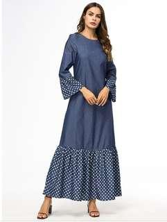 Demin Fabric Abaya Muslim Dress