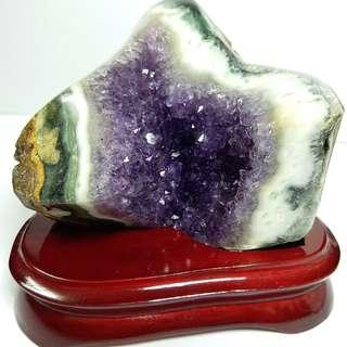 C008-天然水晶 紫晶簇 勁吸財吸人緣