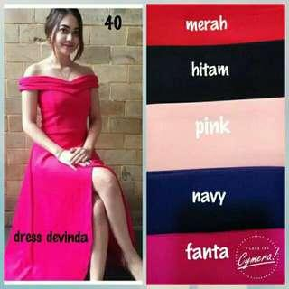 Long dress devinda dress sabrina polos dress pesta panjang party dress belah