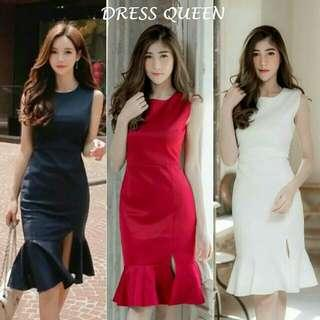 midi dress queen dress mermaid dress polos dress pesta dress scuba dress belah