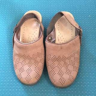 Fly Flot Brown Anti Shock Leather Suede Cloggs Mules Slip On Sz 37