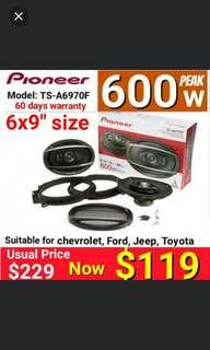 "Pioneer 600 watts/100watts RMS 5 way speakers (6"" x 9"" size Model TS-A6970F)  Usual price: $229. Offer $118. (Brand New in box and Sealed) warranty: 60 days one to one exchange against manufacturing defects)"