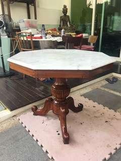 Hexagon Vintage Kopitiam Marble table