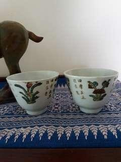 Old chinese tea cups