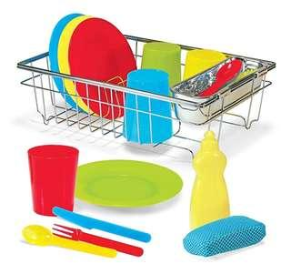 *In Stock* BN Melissa & Doug Let's Play House Little Home Helper Wash & Dry Dish Drainer Multi Colour Kitchen Set