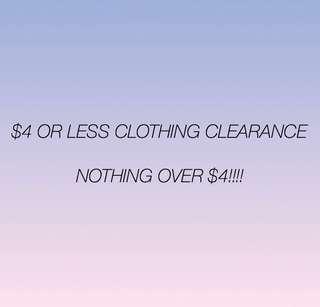 $4 CLOTHING SALE