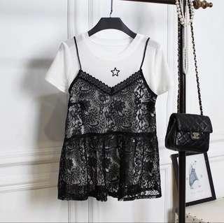 大码蕾丝两件套夏季短袖黑白冰丝T恤衫吊带娃娃衫上衣