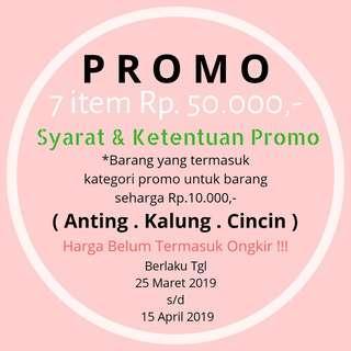 Promo !!! 7 item Rp.50.000,- ( Anting ,Kalung ,Cincin )
