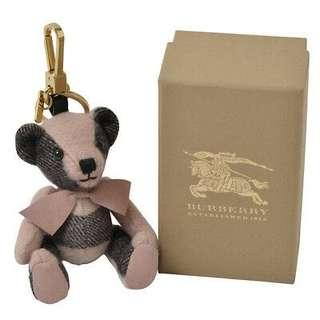 Burberry thomas bear charm keychain in check cashmere