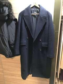 🚚 韓國帶回 spao 雙排扣大衣外套 海軍藍M號 zara