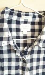 J Crew Blue Grid Shirt blouse 藍色格子襯衫