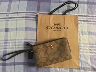Coach Wristlet Double Zip in Light Khaki/Oxblood Glitter
