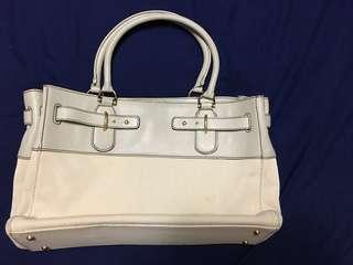 🚚 Sazaby 日本品牌 白色帆布 搭真皮 大肩背/手提包