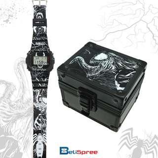 Brand New Casio G-Shock DW-5600 Venom Spider Black & White Custom Design Special Edition Flash Alert Stopwatch Digital Printed Resin Watch