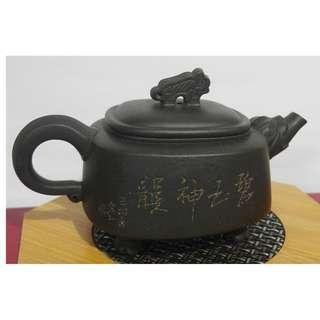 宜興茗壺曹琴芬(碧玉神韻) 寒石刻繪 純手工紫砂壺