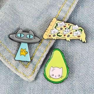 [BUY 3 FREE 1] cat in avocado pizza spaceship enamel pin