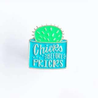 [BUY 3 FREE 1] chicks before picks enamel pin