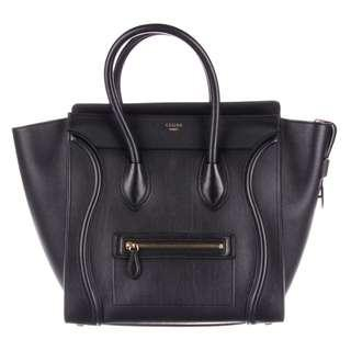 Authentic Celine Mini Luggage Bag Smooth Leather Black