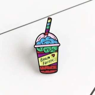 [BUY 3 FREE 1] brain freeze drink Enamel pin