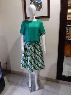 Crop top and batik skirt