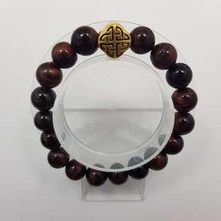 🚚 999 Pure Gold 'Harmony Charm with  Red Tiger Eye Beads Bracelet