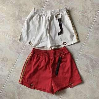 White & red runner shorts