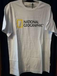 全新全棉白色男裝National Geographic 韓版T Shirt