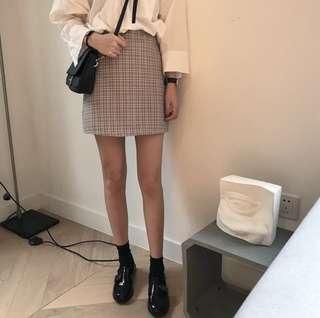 Beige Checkered Skirt