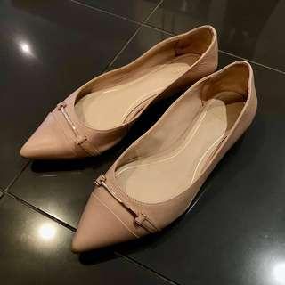ALDO Leather Nude Flats Pointed Toe • EU 36 AU 5