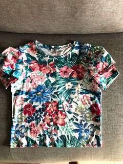 Zara puffy sleeve floral shirt
