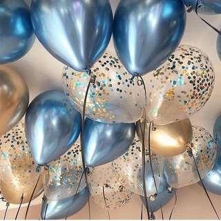 Blue chrome balloons
