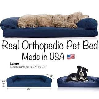 🚚 RESTOCK!! BN USA MADE FurHaven Large Quilted Orthopedic Sofa Pet Bed for Dogs and Cats, Navy