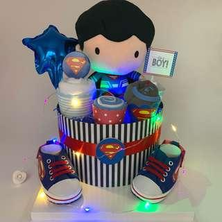 🚚 Superman Baby Diapers Cake