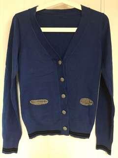 Korea bought blue cotton cardigan
