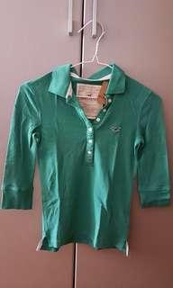 🚚 Hollister Long sleeve green polo shirt. Gal size S