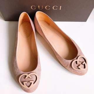 GUCCI LOGO緹花布基本款粉紅平底鞋 36.5