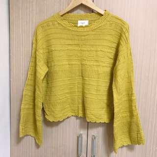 🚚 芥黃色暖冬針織毛衣
