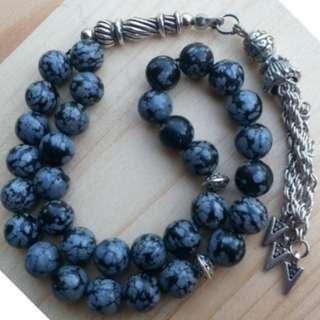 SNOW OBSIDIAN STONE 33 beads