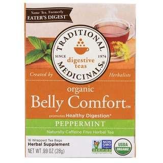 [現貨] TraditionalMedicinals, Organic Digestive Teas, Belly Comfort, Caffeine Free 有機胃部舒緩薄荷茶包