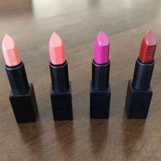 NARS audacious lipsticks Raquel Juliette Fanny Charlotte