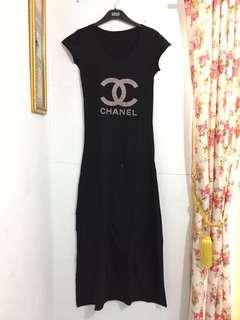 Long Dress Hitam Chanel